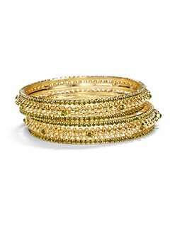 Chamak by Priya Kakkar - Crystal Bangle Bracelet Set/Green