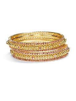 Chamak by Priya Kakkar - Crystal Bangle Bracelet Set/Pink