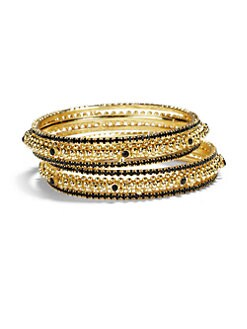 Chamak by Priya Kakkar - Crystal Bangle Bracelet Set/Black