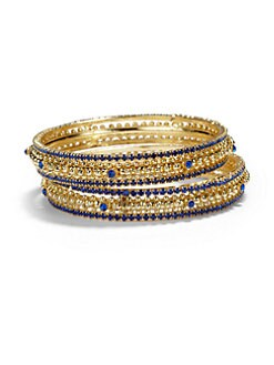 Chamak by Priya Kakkar - Crystal Bangle Bracelet Set/Navy