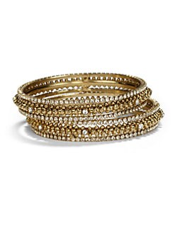 Chamak by Priya Kakkar - Crystal Bangle Bracelet Set/Clear