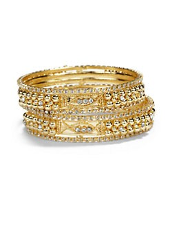 Chamak by Priya Kakkar - Crystal Sectioned Bangle Bracelet Set/Clear