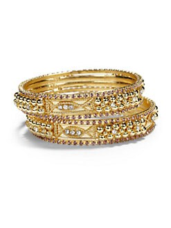 Chamak by Priya Kakkar - Crystal Sectioned Bangle Bracelet Set/Purple