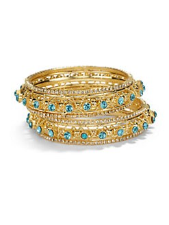 Chamak by Priya Kakkar - Two-Tone Crystal Wrapped Bangle Bracelet Set