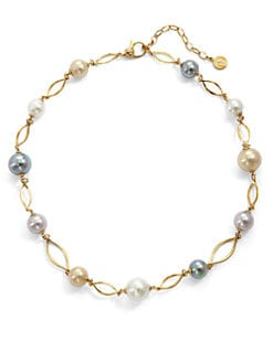Majorica - 10MM-12MM Multicolor Pearl Marquis Link Necklace