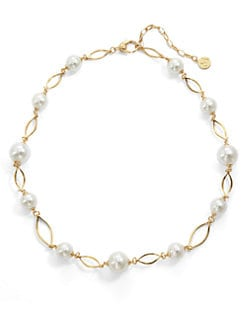 Majorica - 10MM-12MM White Pearl Marquis Link Necklace