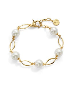 Majorica - 10MM White Pearl Marquis Link Bracelet
