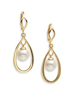 Majorica - 10MM White Pearl Open Teardrop Earrings