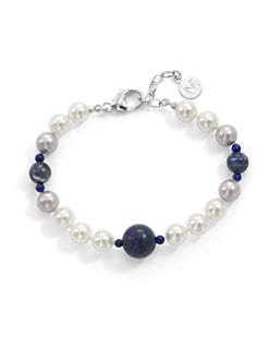 Majorica - 8MM Multicolor Round Pearl, Lapis & Sodalite Bracelet