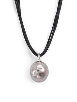 Majorica - 22MM Aubergine Baroque Pearl & Leather Cord Necklace