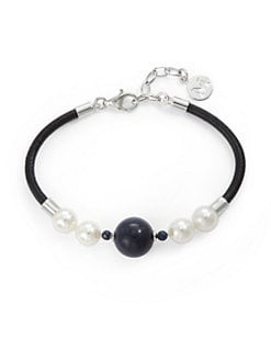 Majorica - 10MM White Round Pearl, Lapis & Leather Bracelet