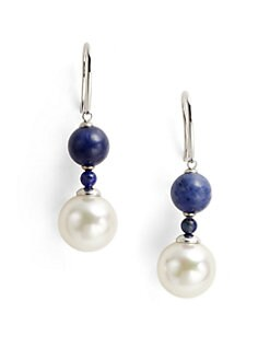 Majorica - 12MM White Round Pearl, Lapis & Sodalite Drop Earrings