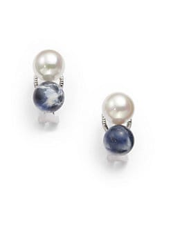 Majorica - 8MM White Round Pearl & Sodalite Column Earrings