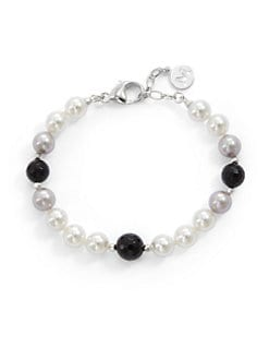 Majorica - 8MM Multicolor Pearl & Onyx Bracelet
