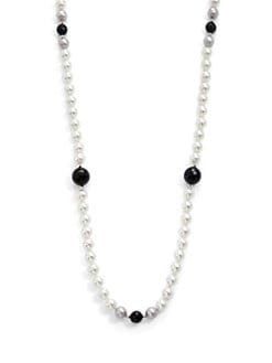 Majorica - 8MM Multicolor Pearl & Onyx Necklace