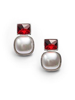 Majorica - 15MM White Square Mabe Pearl Earrings