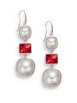 Majorica - 10MM-15MM White Square Mabe Pearl Drop Earrings