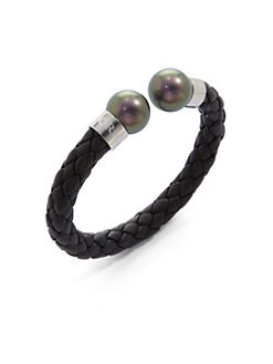 Majorica - 14MM Tahitian Pearl & Braided Leather Cuff Bracelet