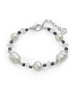 Majorica - 10MM-12MM White Round & Baroque Pearl, Quartz & Hematite Bracelet