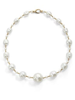 Majorica - 6MM-22MM White Round & Baroque Pearl Necklace