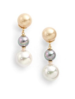 Majorica - 8MM-12MM Multicolor Pearl Drop Earrings
