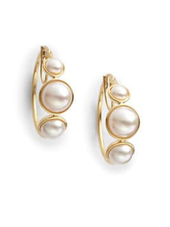 Majorica - 6MM-10MM White Mabe Pearl Hoop Earrings