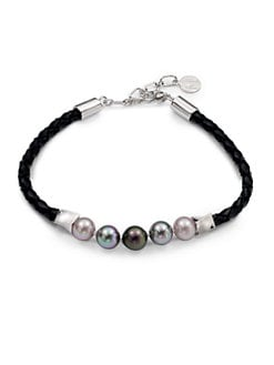 Majorica - 8MM Multi-Colored Round Pearl Sterling Silver & Leather Bracelet