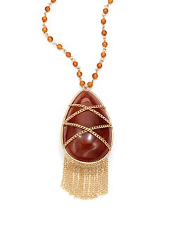 andara - Orange Quartz Tassel Necklace