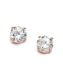 CZ by Kenneth Jay Lane - Brilliant-Cut Stud Earrings/Rose Goldplated