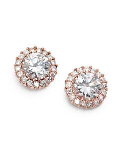 CZ by Kenneth Jay Lane - Brilliant-Cut Halo Stud Earrings