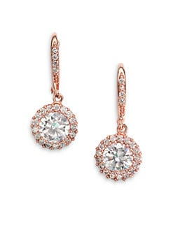 CZ by Kenneth Jay Lane - Brilliant-Cut Halo Drop Earrings/Rose Goldplated