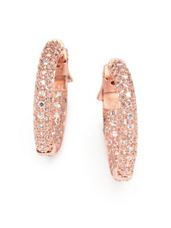 CZ by Kenneth Jay Lane - Pave Inside-Outside Hoop Earrings
