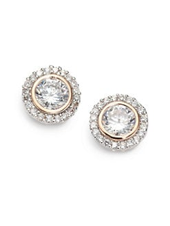 CZ by Kenneth Jay Lane - Bezel-Set Brilliant-Cut Halo Stud Earrings