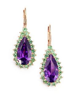 CZ by Kenneth Jay Lane - Two-Tone Teardrop Earrings/Purple