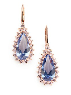CZ by Kenneth Jay Lane - Two-Tone Teardrop Earrings/Aqua