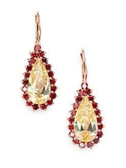 CZ by Kenneth Jay Lane - Two-Tone Teardrop Earrings/Canary