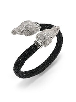 CZ by Kenneth Jay Lane - Textured Double Pave Elephant Cuff Bracelet