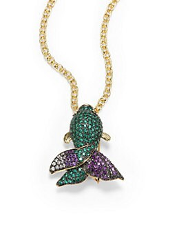 CZ by Kenneth Jay Lane - Pave Fish Pendant Necklace/Brooch