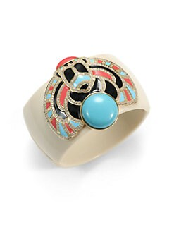 CZ by Kenneth Jay Lane - Enamel Scarab Cuff Bracelet
