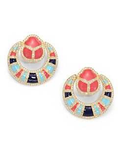 CZ by Kenneth Jay Lane - Enamel Scarab Door Knocker Clip-On Earrings