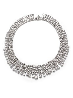 CZ by Kenneth Jay Lane - Floral Cluster Fringe Necklace