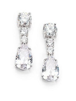 CZ by Kenneth Jay Lane - Faceted Column Drop Earrings/Clear