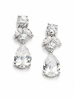 CZ by Kenneth Jay Lane - Faceted Double Drop Earrings