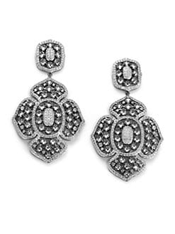 CZ by Kenneth Jay Lane - Pave Floral Drop Earrings