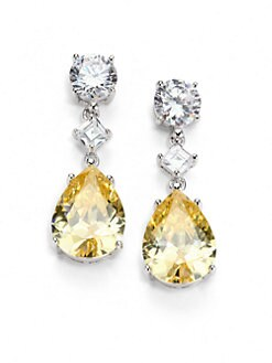 CZ by Kenneth Jay Lane - Faceted Canary Teardrop Earrings