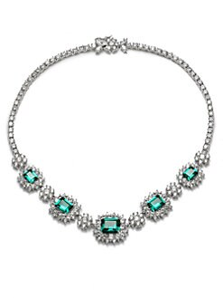 CZ by Kenneth Jay Lane - Emerald-Cut Halo Necklace