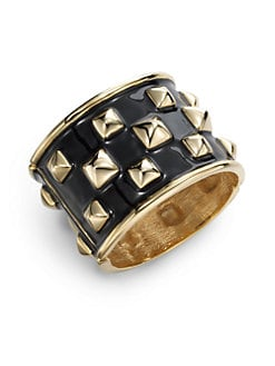 Kenneth Jay Lane - Pyramid Enamel Hinge Cuff/Black