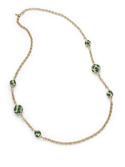 Kenneth Jay Lane - Glass Crystal Ball Necklace/Green