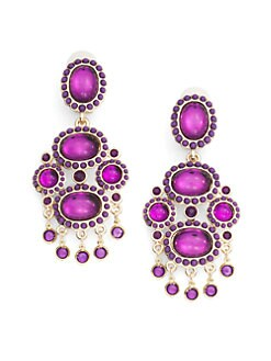 Kenneth Jay Lane - Glass Crystal Chandelier Earrings/Amethyst