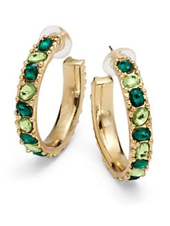 Kenneth Jay Lane - Glass Crystal Hoop Earrings/Green